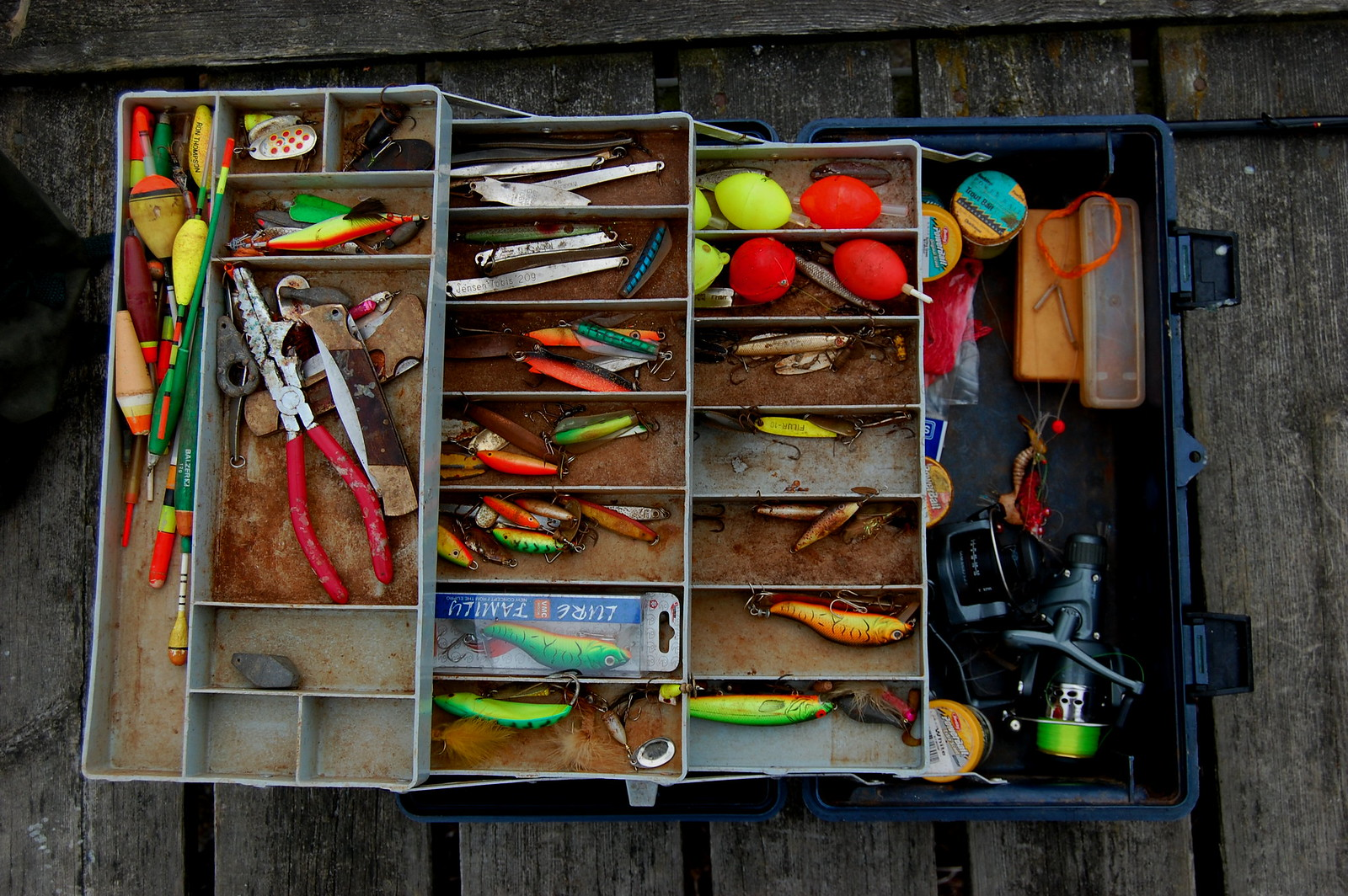 vissen met pluggen op forel